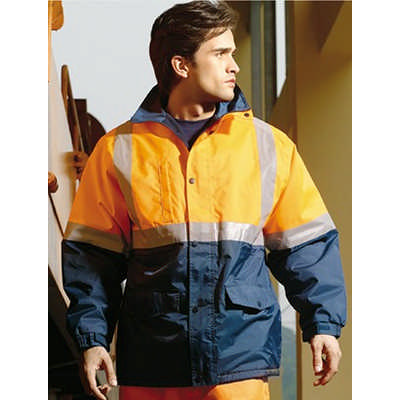 Unisex Adults Hi-Vis Polar Fleece LinedJacket With Reflective Tape (SJ0430_BOC)