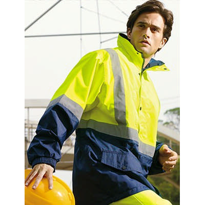 Unisex Adults Hi-Vis Mesh Lining Jacket WithReflective Tape (SJ0432_BOC)