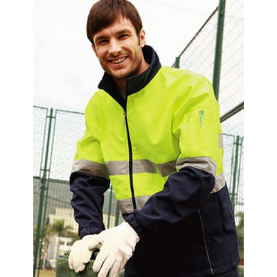 Unisex Adults Hi-Vis Soft Shell Jacket WithReflective Tape (SJ1103_BOC)