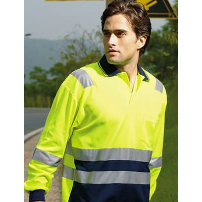 Unisex Adults Hi-Vis PolyfaceCotton BackPolo With Tape -LS (SP0537_BOC)