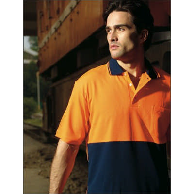Unisex Adults Hi-Vis PolyfaceCotton BackPolo -SS (SP0538_BOC)
