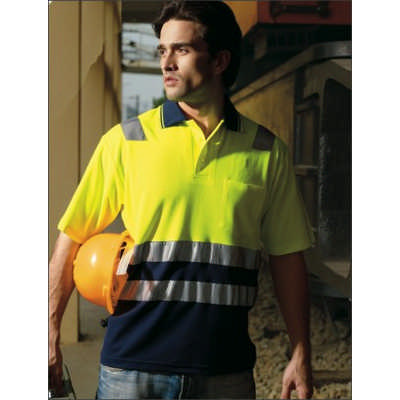 Unisex Adults Hi-Vis PolyfaceCotton BackPolo With Tape -SS (SP0539_BOC)