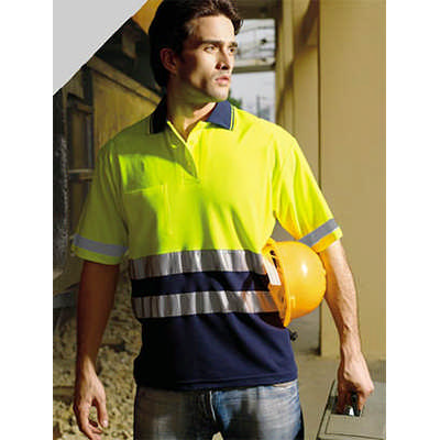Unisex Adults Hi-Vis PolyfaceCotton BackPolo With 3M Tape -SS (SP1249_BOC)