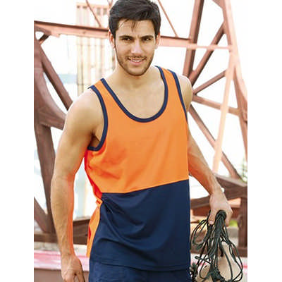 Unisex Adults Hi-Vis PolyfaceCotton BackSinglet (ST0540_BOC)