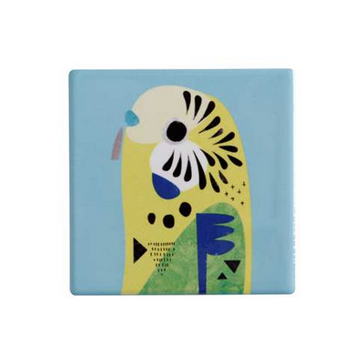 Maxwell & Williams Pete Cromer Ceramic Square Tile Coaster 9.5cm Budgerigar (DU0092_PPI)