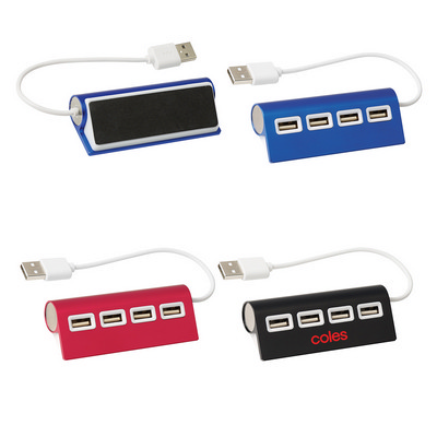4-Port Aluminum Wave USB Hub - (printed with 1 colour(s)) PH2833_PS