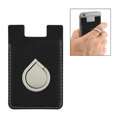 Aluminum Phone Ring And Stand With Phone Wallet - (printed with 1 colour(s)) PH2903_PS