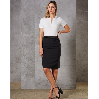 Ladies Wool Stretch Mid Length Lined Pencil Skirt (M9470_WIN)