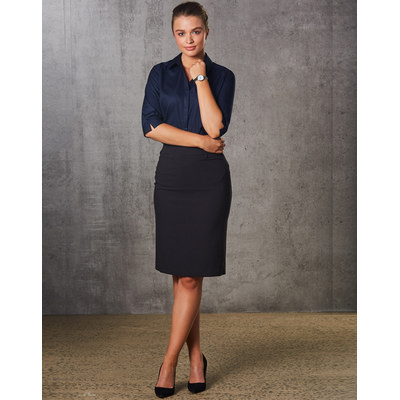 Ladies PolyViscose Stretch Mid Length Lined Pencil Skirt (M9471_WIN)