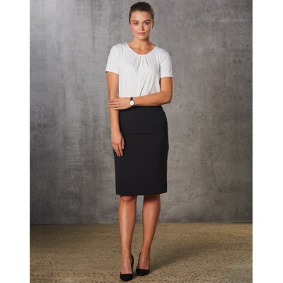 Ladies PolyViscose Stretch Stripe Mid Length Lined Pencil Skirt (M9472_WIN)