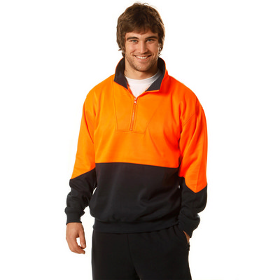 Mens High Visibility Long Sleeve Fleecy Sweat With Collar (SW13A_WIN)