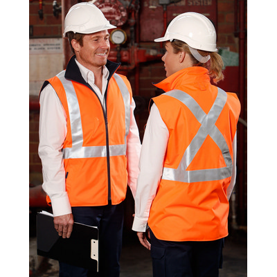 Hi-Vis Reversible Safety Vest With X Pattern 3M Reflective Tapes Shell  (SW37_WIN)