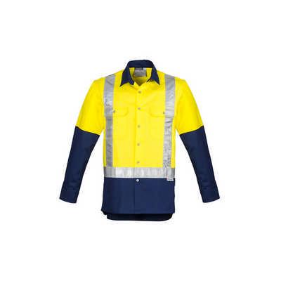 Mens Hi Vis Spliced Industrial Shirt - Shoulder Taped (ZW124_SYNZ)