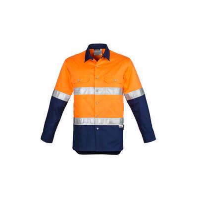 Mens Hi Vis Spliced Industrial Shirt - Hoop Taped (ZW123_SYNZ)