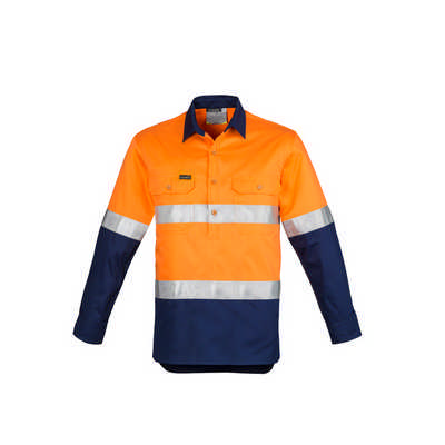 Mens Hi Vis Closed Front L/S Shirt - Hoop Taped (ZW550_SYNZ)