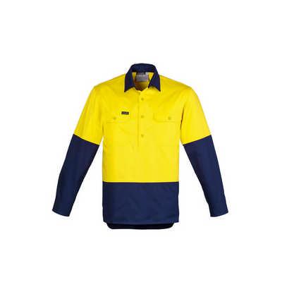 Mens Hi Vis Closed Front L/S Shirt (ZW560_SYNZ)