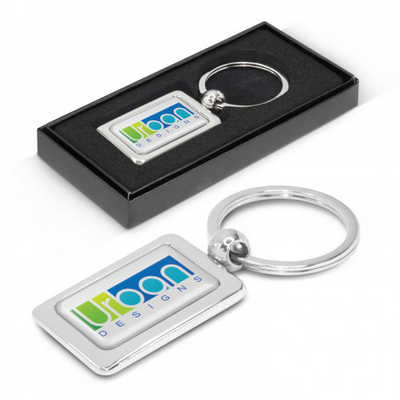 Rectangular Metal Key Ring - (printed with 1 colour(s)) 100316_TRDZ