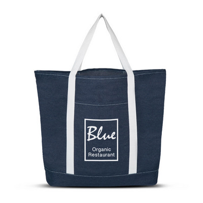 Denim Shopping Tote Bag - (Includes Decoration) 111383_TRDZ