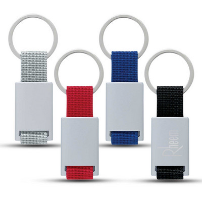 Aluminum Key Tag With Web Strap - (printed with 1 colour(s))