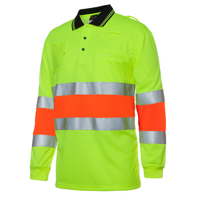 JBs Hi Vis Bio Motion (D+N) L/S Polo With 3M Tape (6QTDP_JBS)
