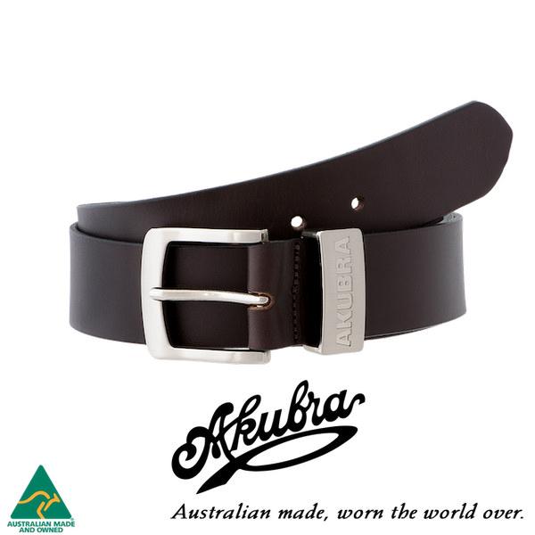 AKUBRA Leather Belt: DUBBO - brown
