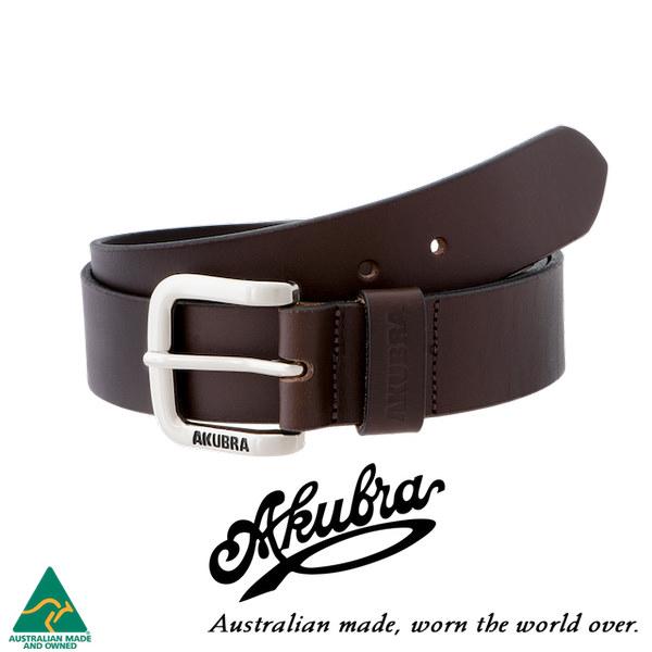 AKUBRA Leather Belt: KEMPSEY - brown