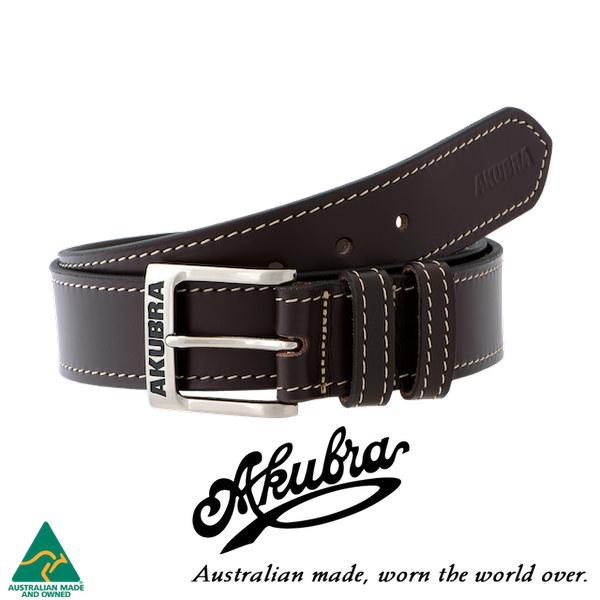 AKUBRA Leather Belt: STEVE - brown