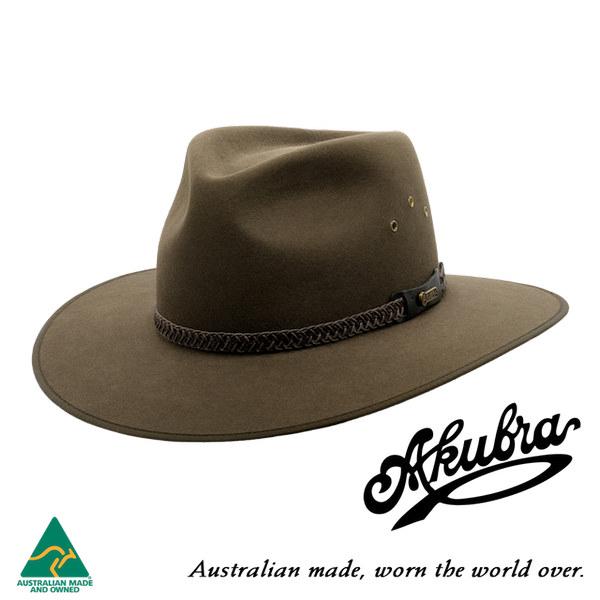 AKUBRA Felt Hat: TABLELANDS - brown olive