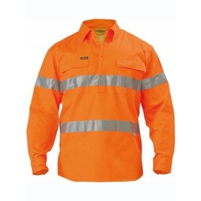 Bisley 3M Taped Hi Vis Closed Front Drill Shirt -