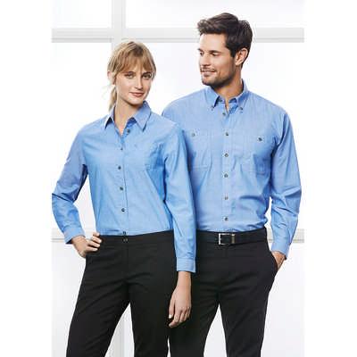 Mens Wrinkle Free Chambray Long Sleeve Shirt