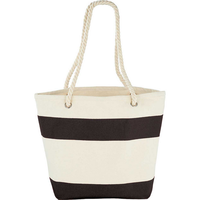 Capri Stripes Cotton Shopper Tote - Blk