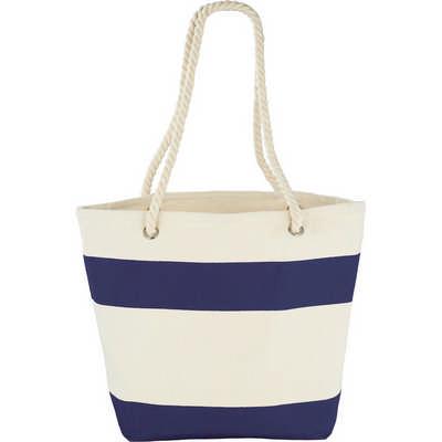 Capri Stripes Cotton Shopper Tote - Blue