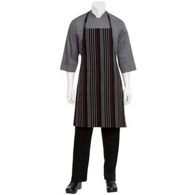 BlackWhiteRed Striped Bib Apron