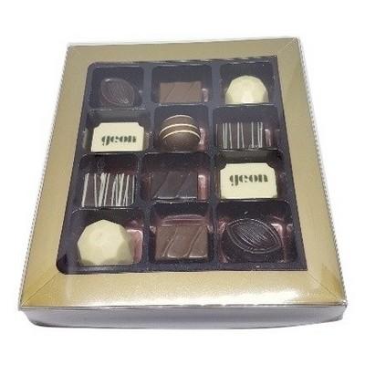12 Pc Belgian Chocolate Gold Gift Box
