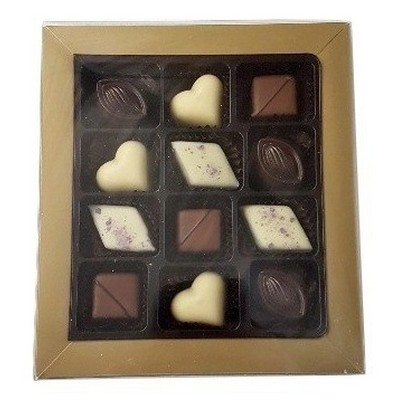 12 Pc Belgian Chocolate Gold Gift Box with Ribbon
