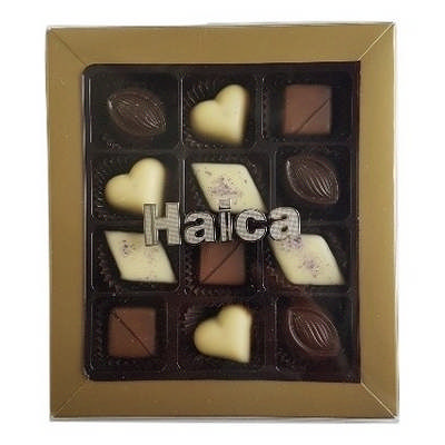 12 Pc Belgian Chocolate Gold Gift Box with Gold Go