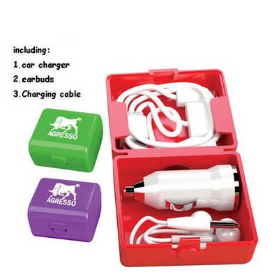 Car Charger Earbuds Charging Cable in One Case