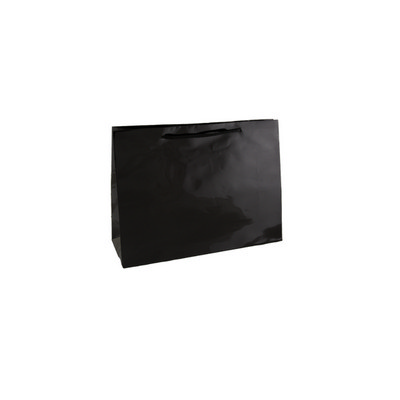 Small Boutique Black Gloss Laminated Paper Bag Pri