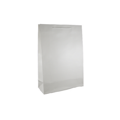Large White Gloss Laminated Paper Bag Printed