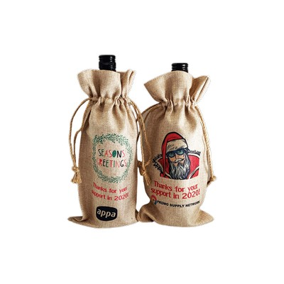 Faux Burlap Wine Bottle Drawstring Bag