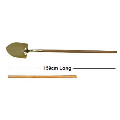 Gold Groundbreaking Ceremonial Shovel with long wo