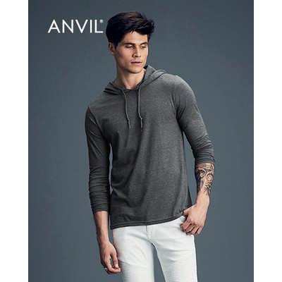 Anvil Adult Lightweight Long Sleeve Hooded Tee Col