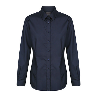 Womens Navy Nicholson Premium Poplin Long Sleeve S