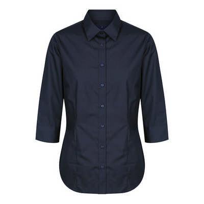 Womens Navy Nicholson Premium Poplin 34 Sleeve Shi
