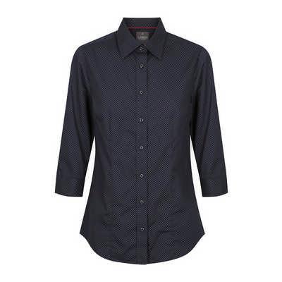 Womens Navy Soho Dot Print 34 Sleeve Shirt - Navy