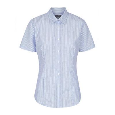 Womens Navy Carson Dobby Stripe Short Sleeve Shirt