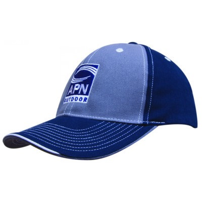 6 Panel Brushed Heavy Cotton 2 Tone Cap with contr