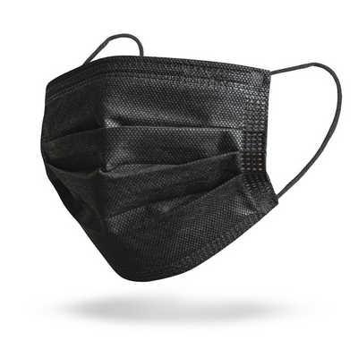 Black 3-Ply Disposable Face Masks