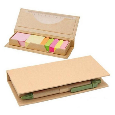 Eco Post-It Notes Box With Recycled Paper Pen