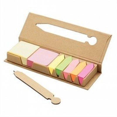Eco Post-It Notes Box With Recycled Paper Pen In T